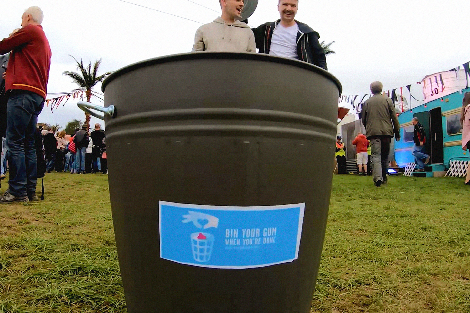 Lads with bin at Electric Picnic
